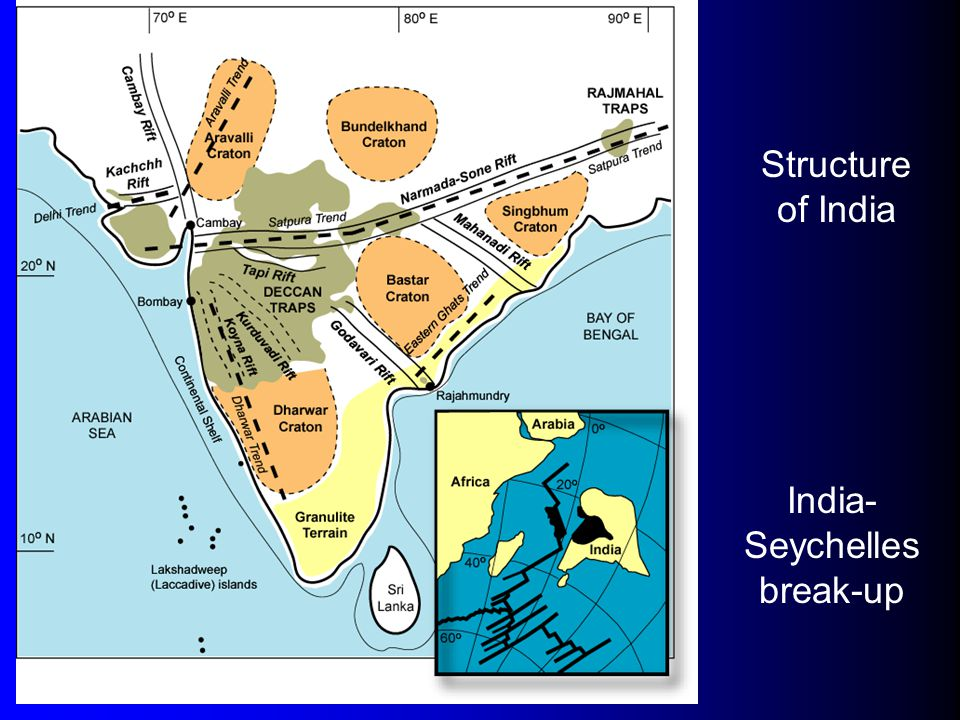 Structure of India India- Seychelles break-up