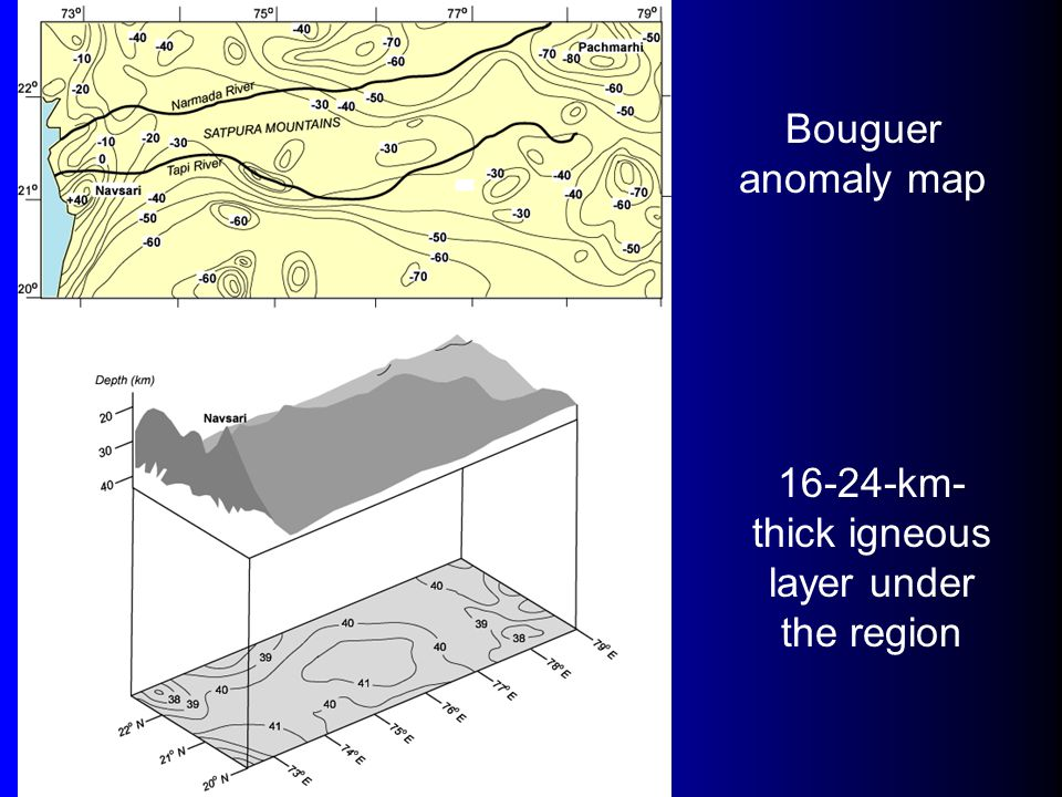Bouguer anomaly map 16-24-km- thick igneous layer under the region
