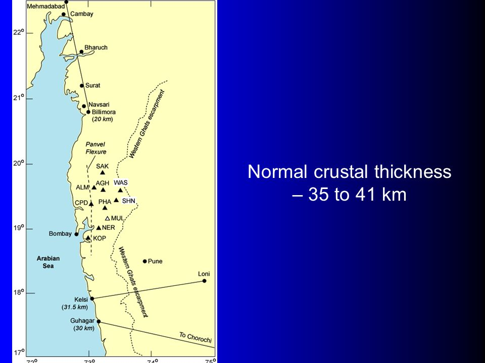 Normal crustal thickness – 35 to 41 km