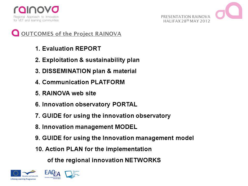 PRESENTATION RAINOVA HALIFAX 28 th MAY 2012 OUTCOMES of the Project RAINOVA 1.