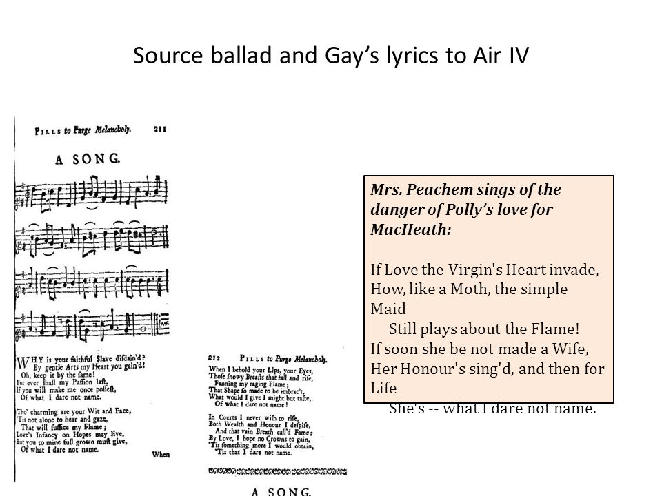 Source ballad and Gay's lyrics to Air IV Mrs.