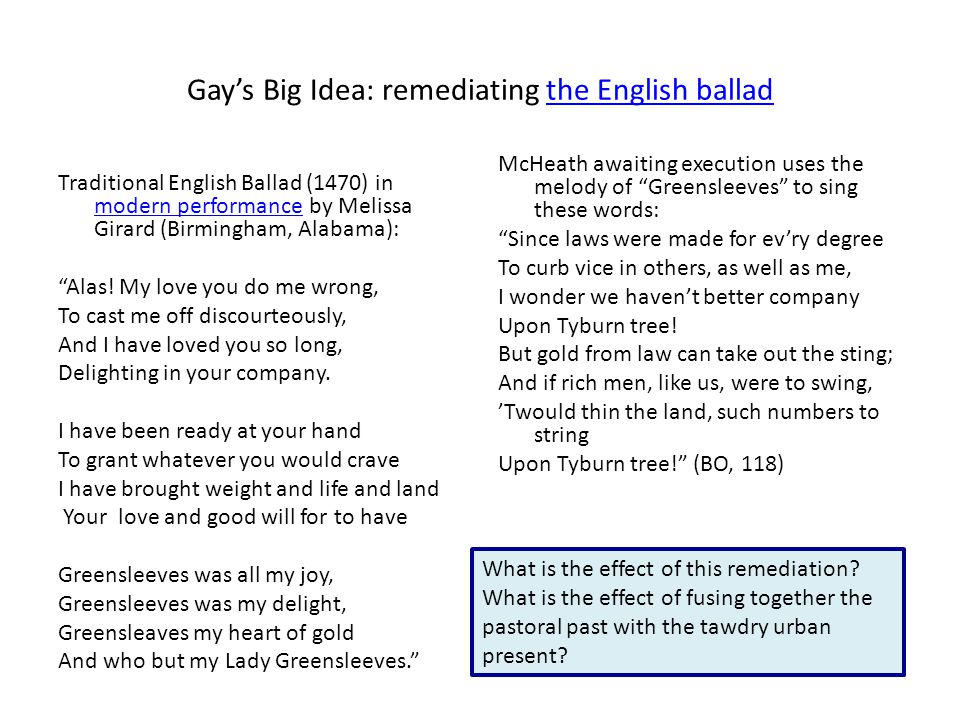 Gay's Big Idea: remediating the English balladthe English ballad Traditional English Ballad (1470) in modern performance by Melissa Girard (Birmingham, Alabama): modern performance Alas.