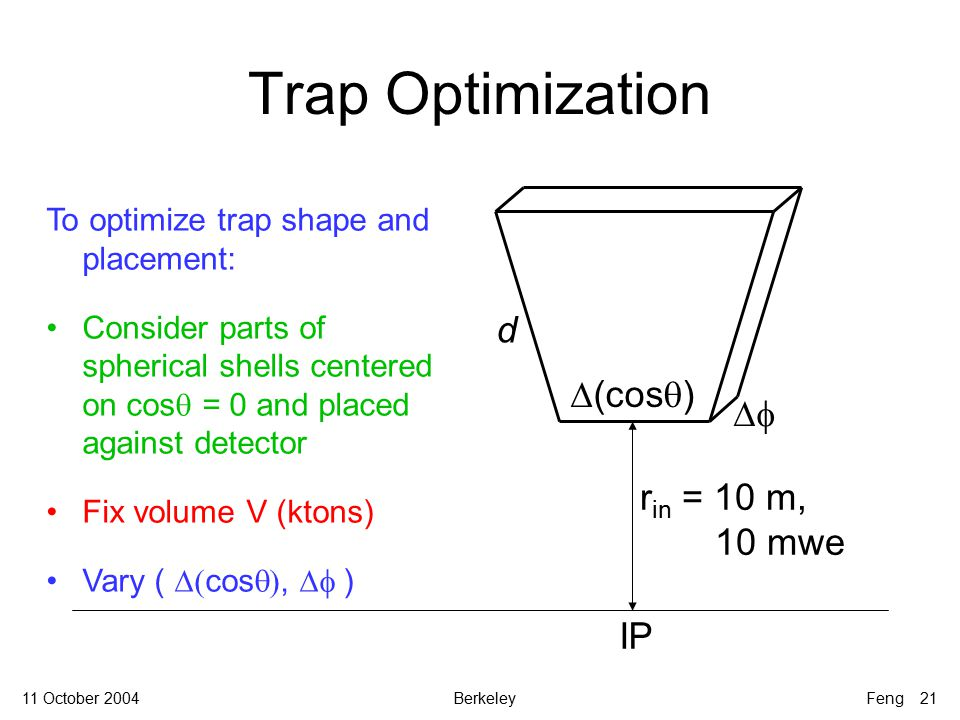 11 October 2004BerkeleyFeng 21 Trap Optimization To optimize trap shape and placement: Consider parts of spherical shells centered on cos  = 0 and placed against detector Fix volume V (ktons) Vary (  cos ,  ) d r in = 10 m, 10 mwe   (cos  ) IP