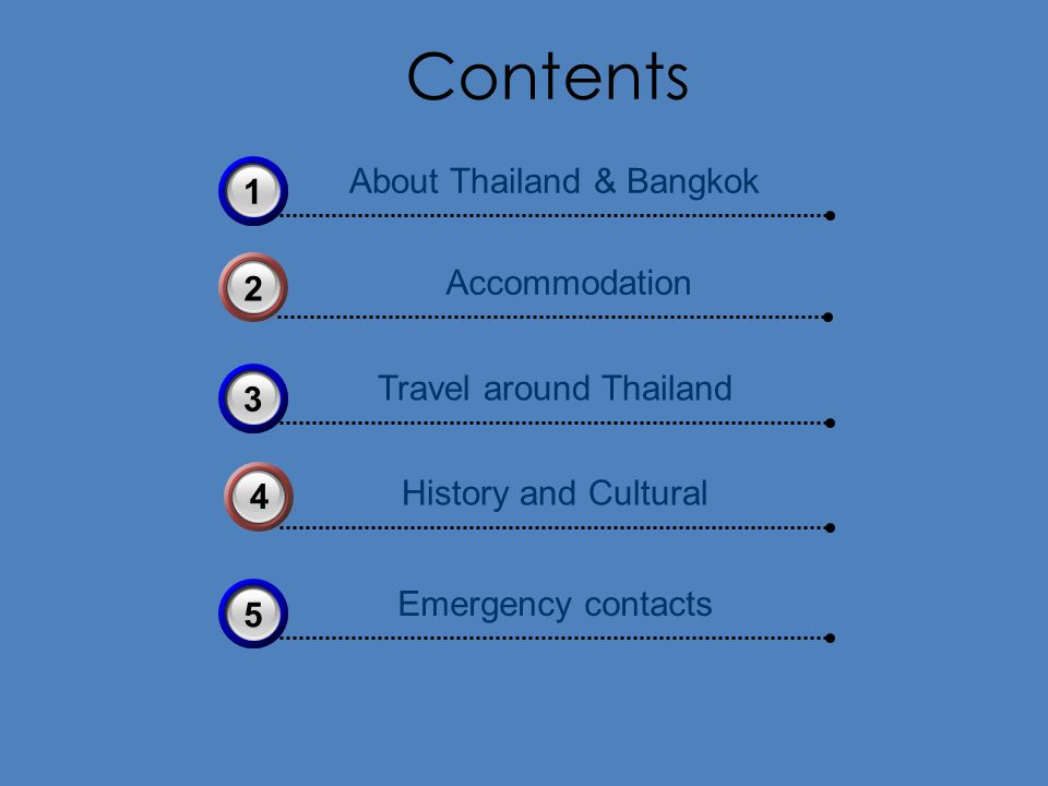 Contents Accommodation 2 History and Cultural 4 About Thailand & Bangkok 31 Travel around Thailand 33 Emergency contacts 35