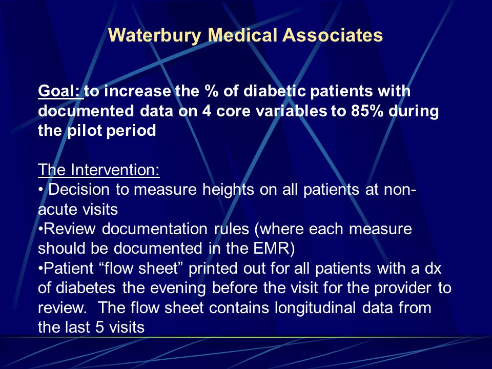 Waterbury Medical Associates Goal: to increase the % of diabetic patients with documented data on 4 core variables to 85% during the pilot period The Intervention: Decision to measure heights on all patients at non- acute visits Review documentation rules (where each measure should be documented in the EMR) Patient flow sheet printed out for all patients with a dx of diabetes the evening before the visit for the provider to review.