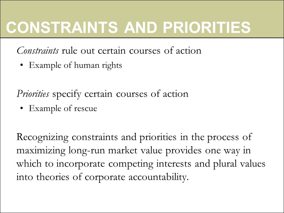CONSTRAINTS AND PRIORITIES Constraints rule out certain courses of action Example of human rights Priorities specify certain courses of action Example of rescue Recognizing constraints and priorities in the process of maximizing long-run market value provides one way in which to incorporate competing interests and plural values into theories of corporate accountability.
