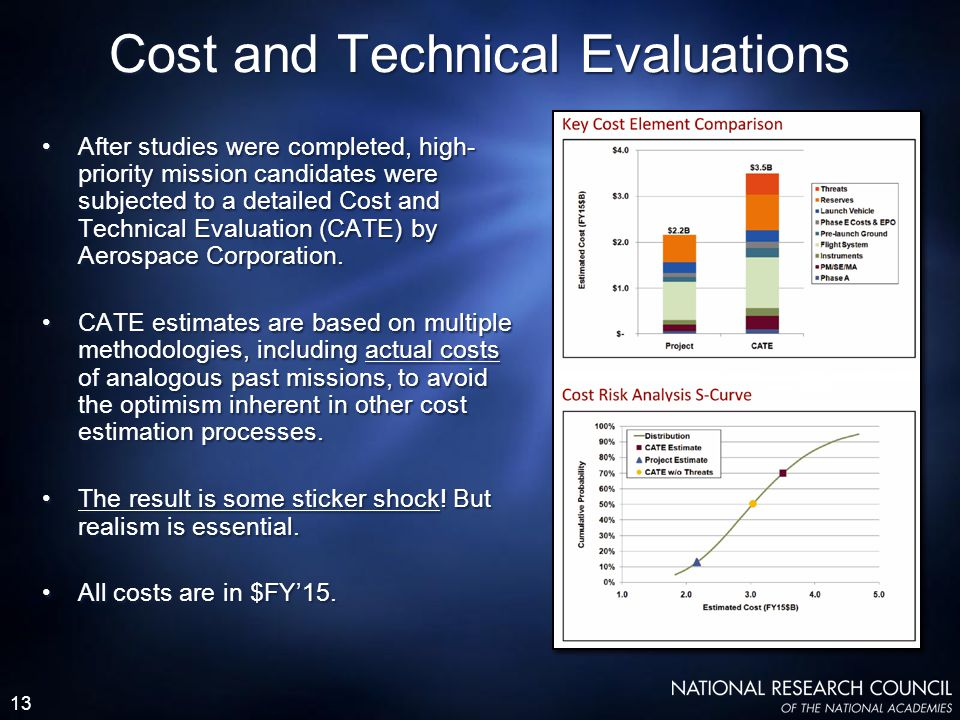 13 Cost and Technical Evaluations After studies were completed, high- priority mission candidates were subjected to a detailed Cost and Technical Evaluation (CATE) by Aerospace Corporation.
