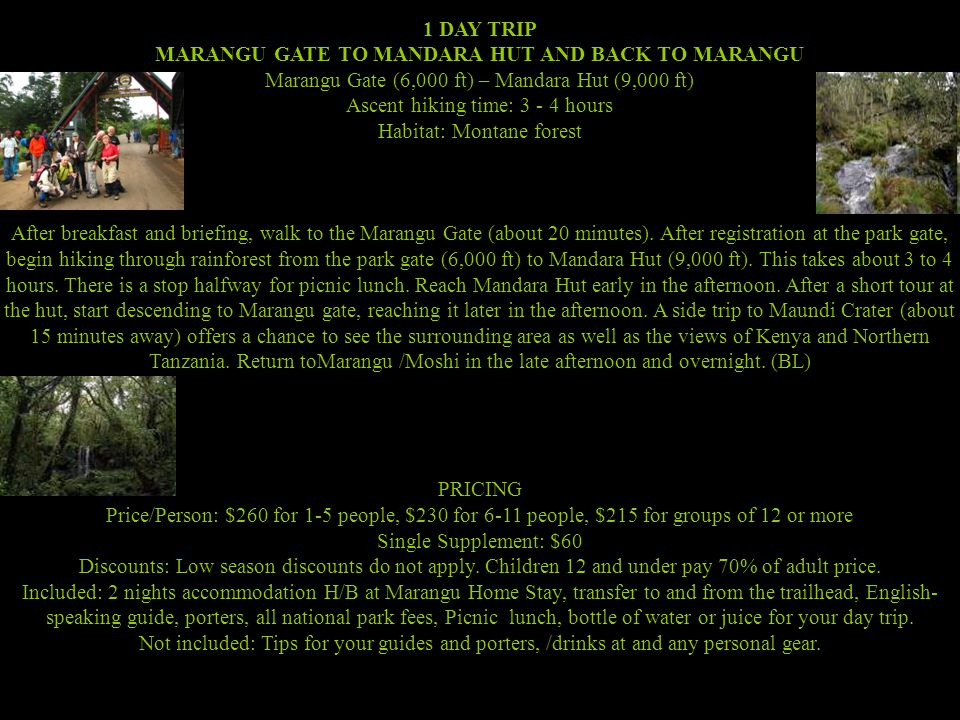 1 DAY TRIP MARANGU GATE TO MANDARA HUT AND BACK TO MARANGU Marangu Gate (6,000 ft) – Mandara Hut (9,000 ft) Ascent hiking time: 3 - 4 hours Habitat: Montane forest After breakfast and briefing, walk to the Marangu Gate (about 20 minutes).