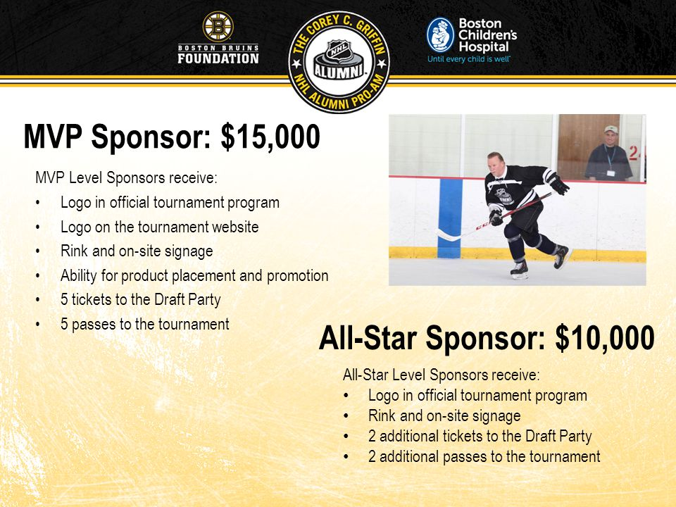MVP Sponsor: $15,000 MVP Level Sponsors receive: Logo in official tournament program Logo on the tournament website Rink and on-site signage Ability for product placement and promotion 5 tickets to the Draft Party 5 passes to the tournament All-Star Sponsor: $10,000 All-Star Level Sponsors receive: Logo in official tournament program Rink and on-site signage 2 additional tickets to the Draft Party 2 additional passes to the tournament