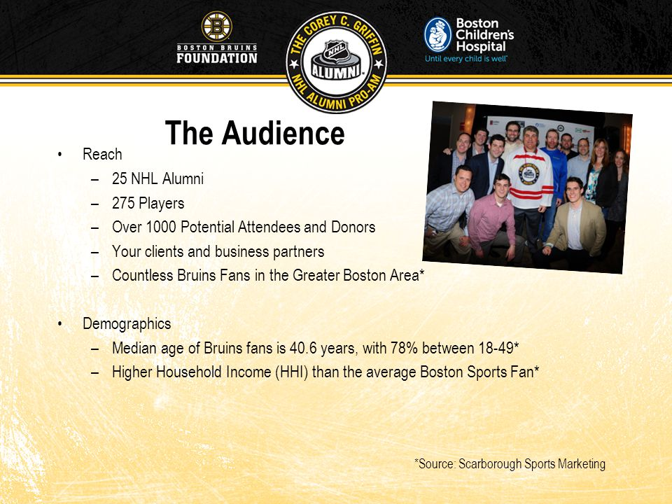 The Audience Reach –25 NHL Alumni –275 Players –Over 1000 Potential Attendees and Donors –Your clients and business partners –Countless Bruins Fans in the Greater Boston Area* Demographics –Median age of Bruins fans is 40.6 years, with 78% between 18-49* –Higher Household Income (HHI) than the average Boston Sports Fan* *Source: Scarborough Sports Marketing