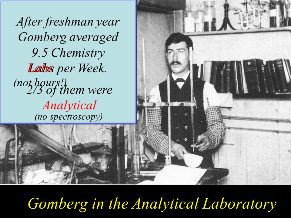 MG as Student Gomberg in the Analytical Laboratory After freshman year Gomberg averaged 9.5 Chemistry Labs per Week.