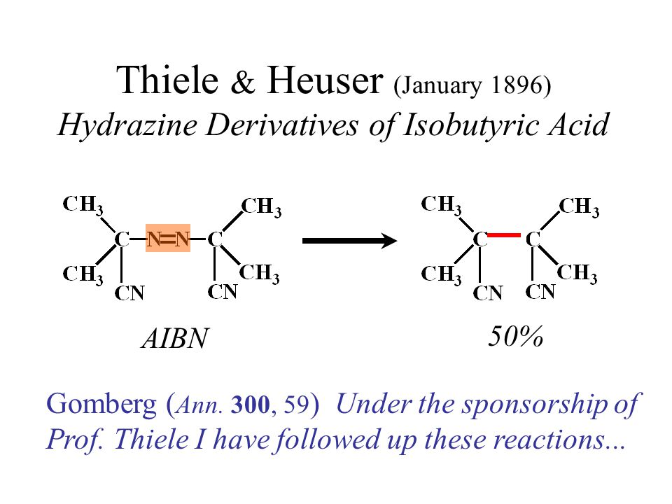 Thiele & Heuser (January 1896) Hydrazine Derivatives of Isobutyric Acid AIBN 50% Gomberg ( Ann.