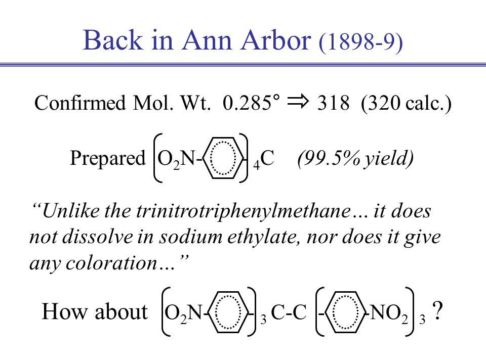 O 2 N- - 3 C - + EtOH O 2 N- - 3 C-H EtO - Back in Ann Arbor (1898-9) Confirmed Mol.