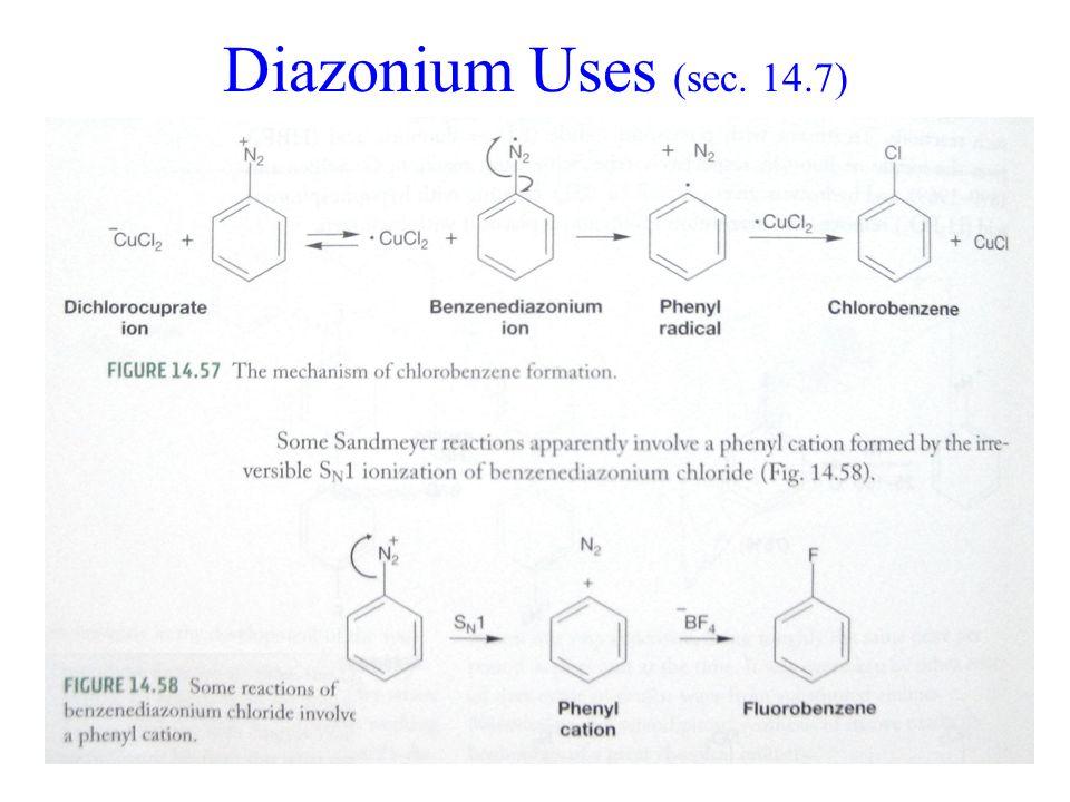 Diazonium Uses (sec. 14.7)