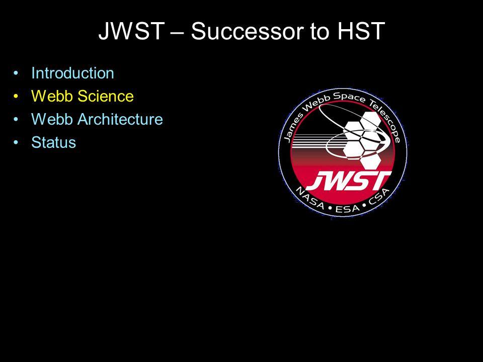 JWST – Successor to HST Introduction Webb Science Webb Architecture Status