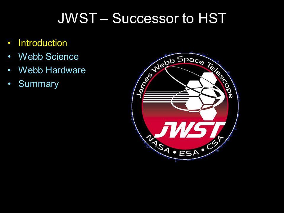 JWST – Successor to HST Introduction Webb Science Webb Hardware Summary