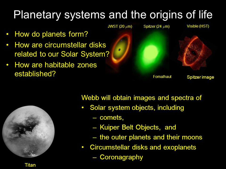 Planetary systems and the origins of life Visible (HST) Spitzer (24  m)JWST (20  m) Fomalhaut How do planets form.