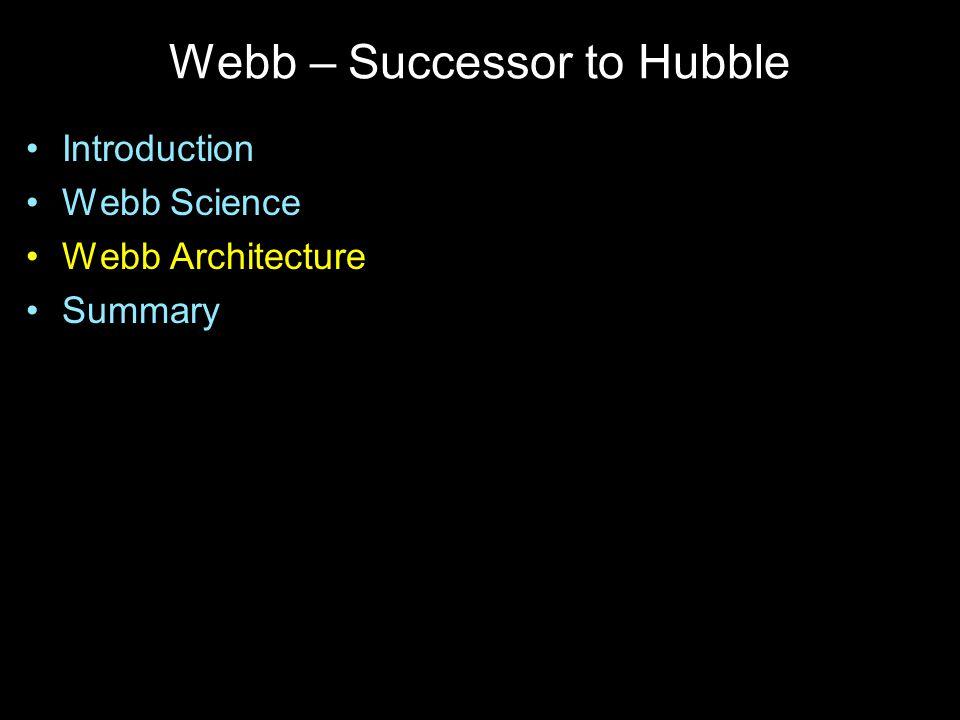 Webb – Successor to Hubble Introduction Webb Science Webb Architecture Summary