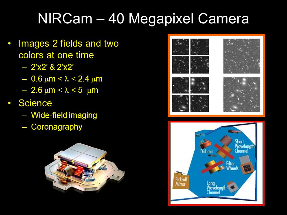 NIRCam – 40 Megapixel Camera Images 2 fields and two colors at one time –2'x2' & 2'x2' –0.6  m < < 2.4  m –2.6  m < l < 5  m Science –Wide-field imaging –Coronagraphy