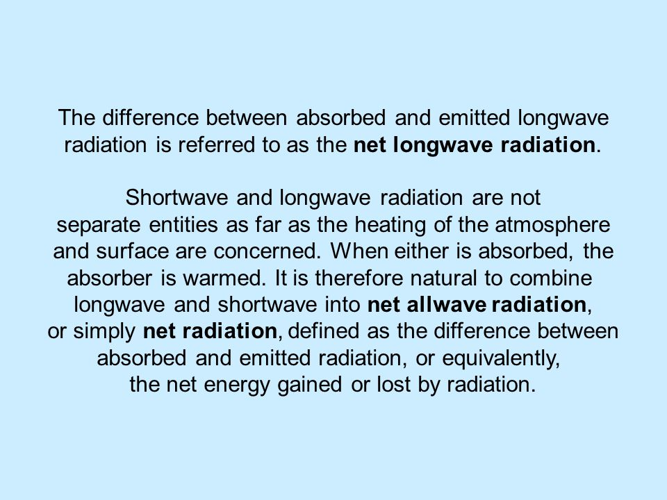 The difference between absorbed and emitted longwave radiation is referred to as the net longwave radiation.
