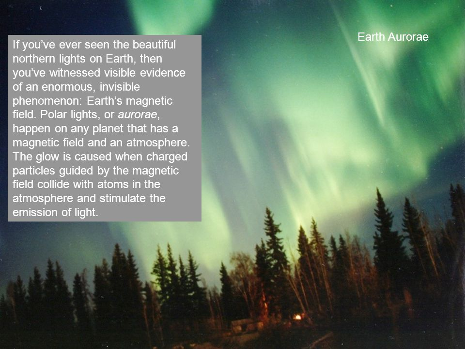 Earth Aurorae If you've ever seen the beautiful northern lights on Earth, then you've witnessed visible evidence of an enormous, invisible phenomenon: Earth's magnetic field.