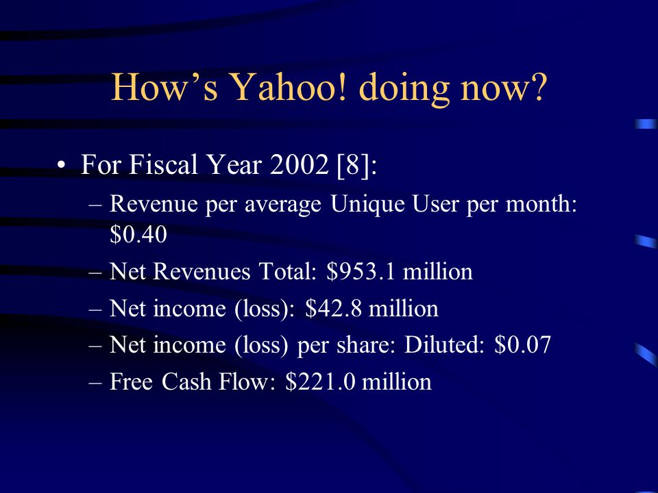 How's Yahoo. doing now.