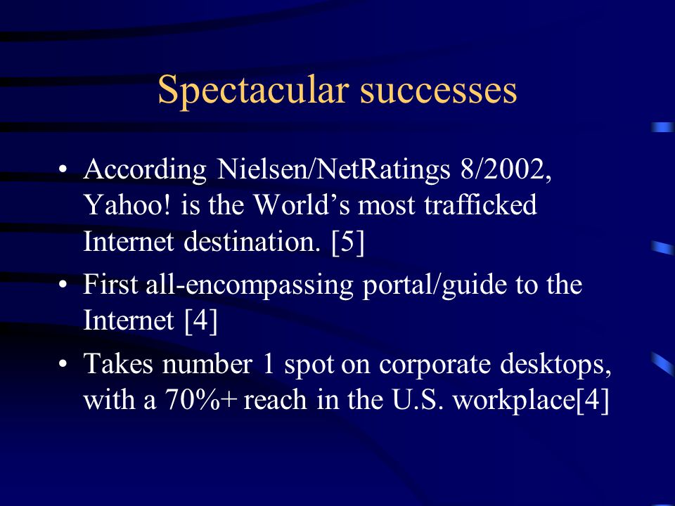 Spectacular successes According Nielsen/NetRatings 8/2002, Yahoo.
