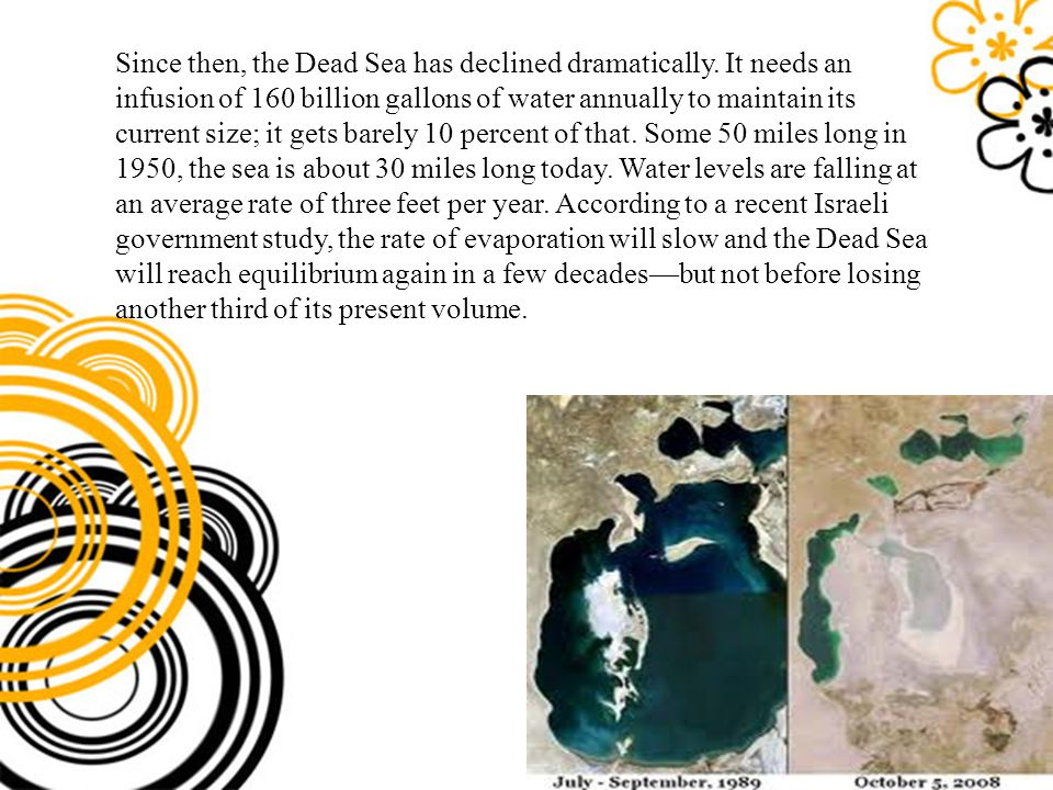 Since then, the Dead Sea has declined dramatically. It needs an infusion of 160 billion gallons of water annually to maintain its current size; it get