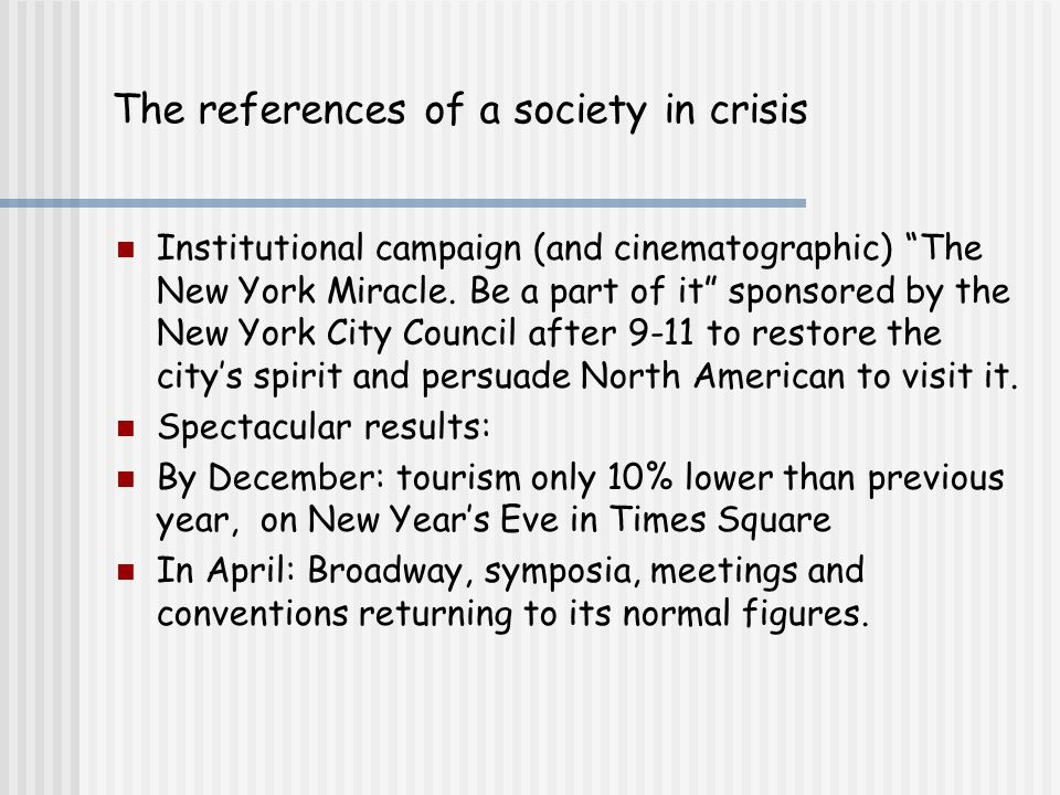 The references of a society in crisis Institutional campaign (and cinematographic) The New York Miracle.