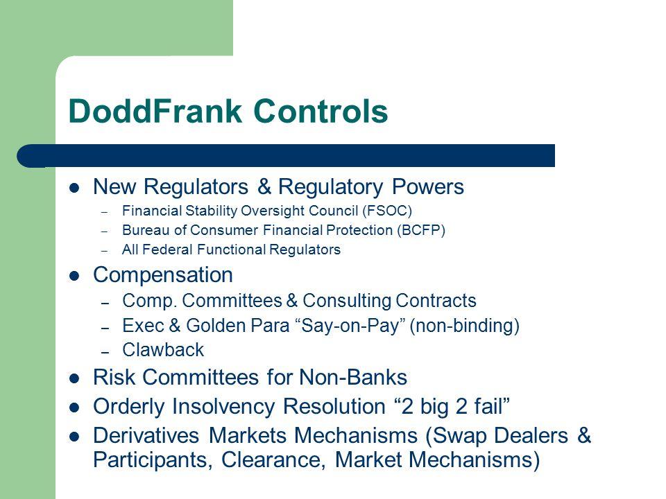 DoddFrank Controls New Regulators & Regulatory Powers – Financial Stability Oversight Council (FSOC) – Bureau of Consumer Financial Protection (BCFP) – All Federal Functional Regulators Compensation – Comp.