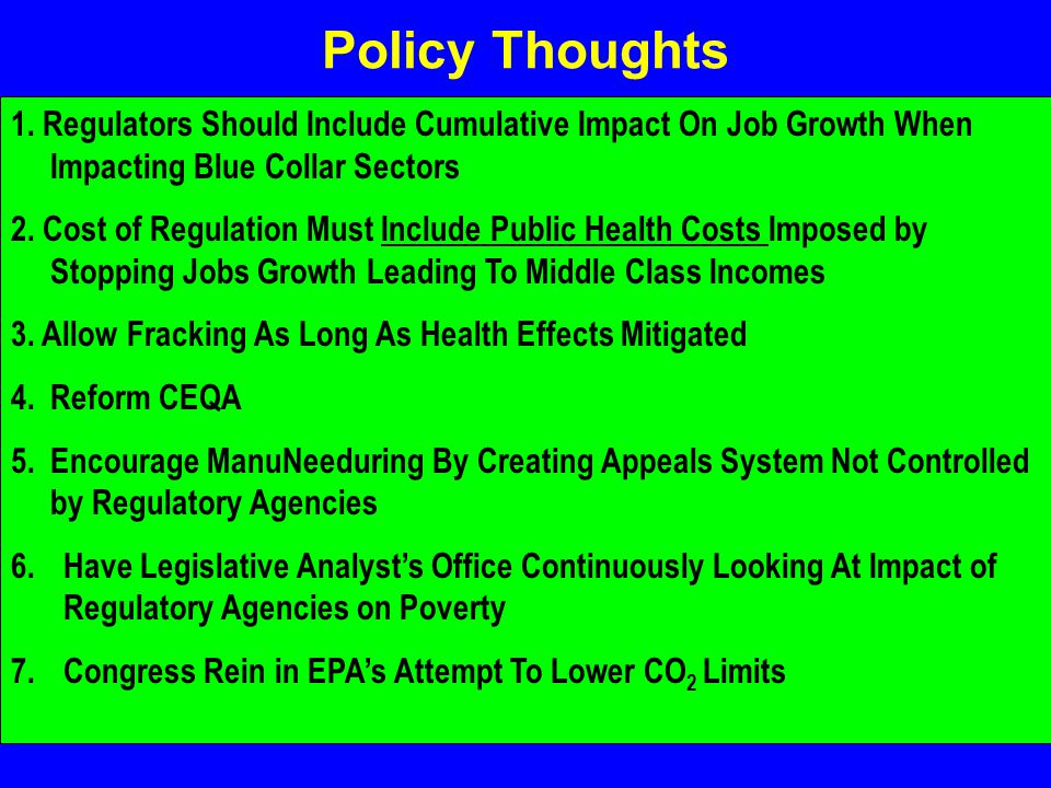 Policy Thoughts 1.