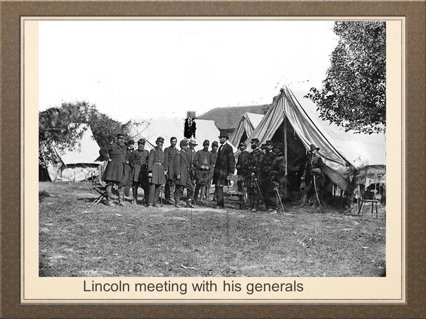 Lincoln meeting with his generals