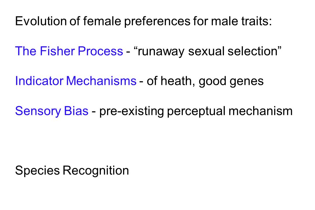 Evolution of female preferences for male traits: The Fisher Process - runaway sexual selection Indicator Mechanisms - of heath, good genes Sensory Bias - pre-existing perceptual mechanism Species Recognition
