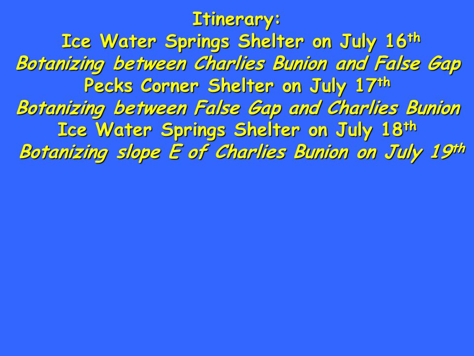 Itinerary: Ice Water Springs Shelter on July 16 th Botanizing between Charlies Bunion and False Gap Pecks Corner Shelter on July 17 th Botanizing between False Gap and Charlies Bunion Ice Water Springs Shelter on July 18 th Botanizing slope E of Charlies Bunion on July 19 th