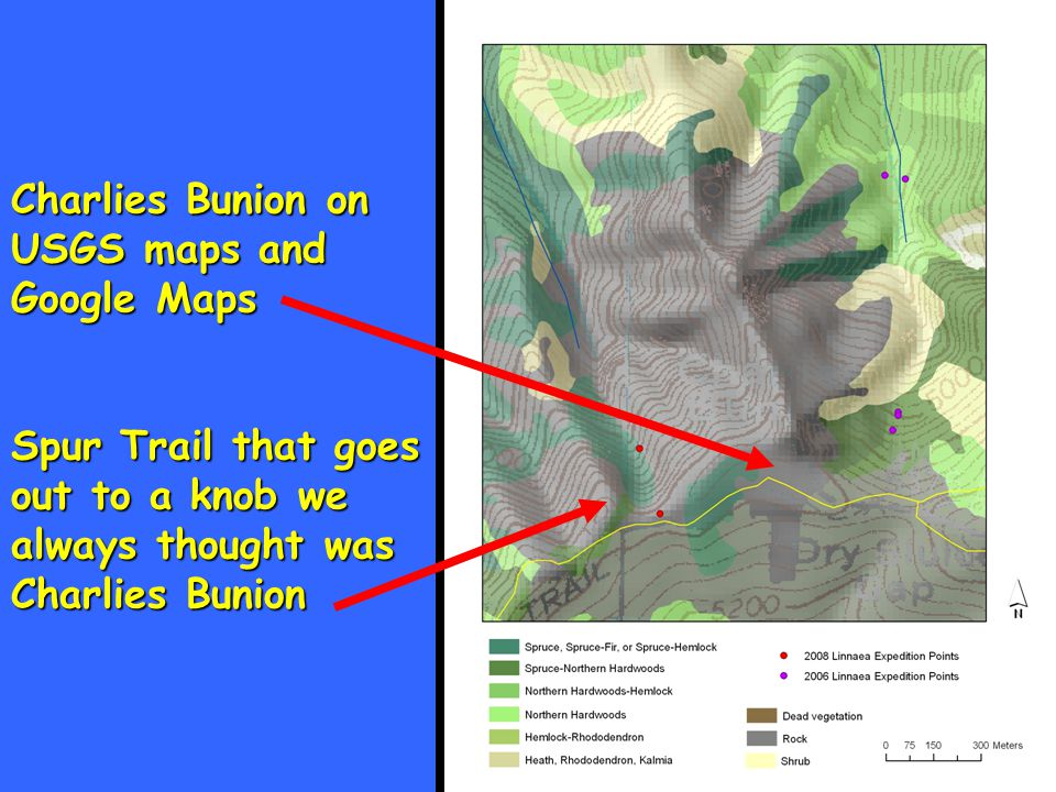Charlies Bunion on USGS maps and Google Maps Spur Trail that goes out to a knob we always thought was Charlies Bunion