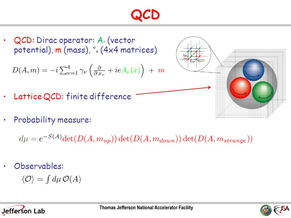 QCD QCD: Dirac operator: A º (vector potential), m (mass), ° º (4x4 matrices) Lattice QCD: finite difference Probability measure: Observables: