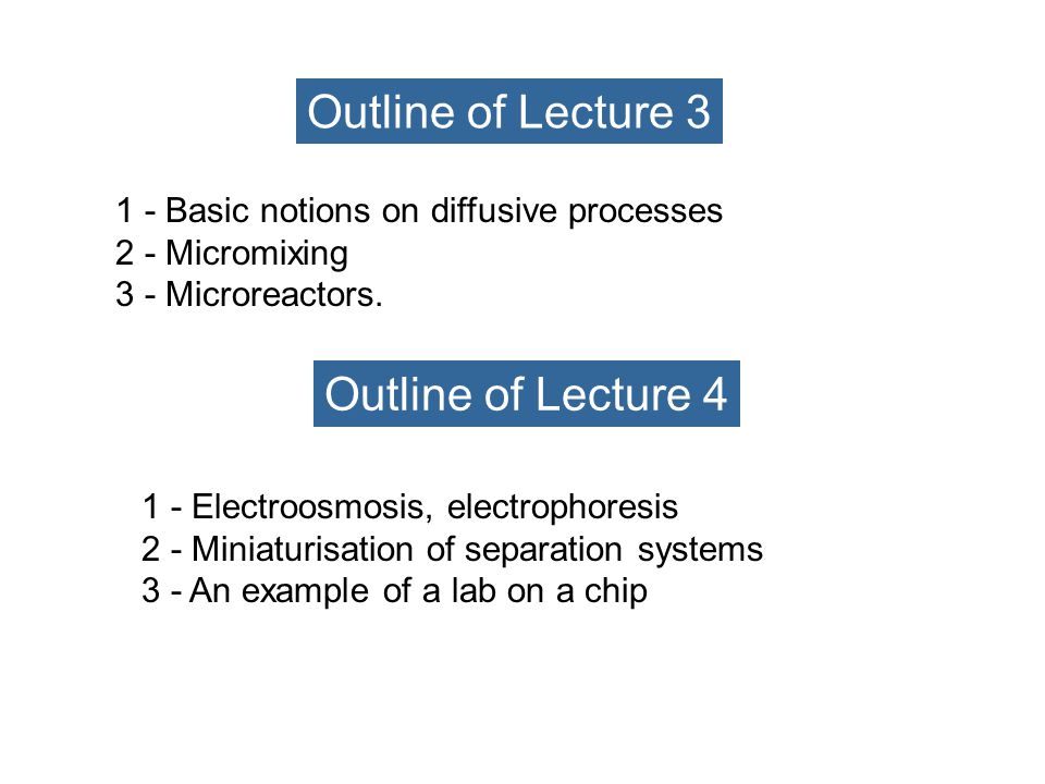 1 - History and prospectives of microfluidics 2 - Microsystems and macroscopic approach.