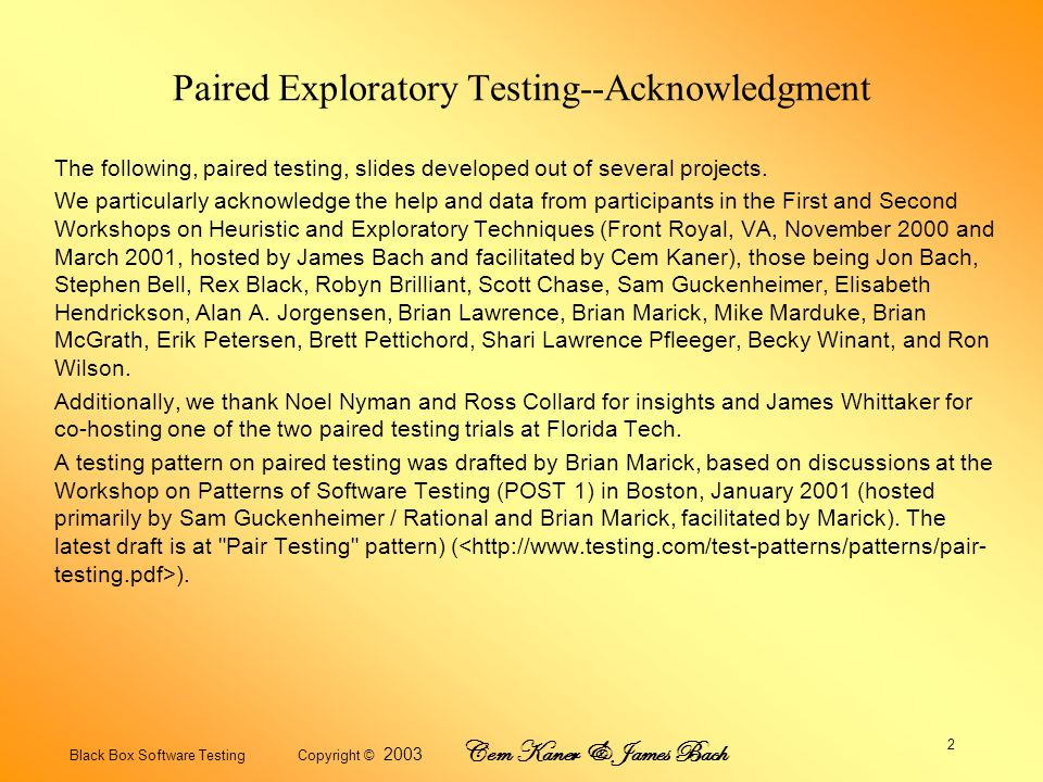 Black Box Software Testing Copyright © 2003 Cem Kaner & James Bach 13 Risks and Suggestions Have a coach available.