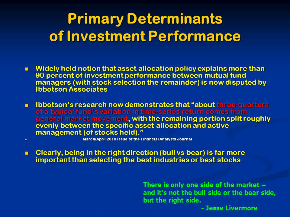 Primary Determinants of Investment Performance Widely held notion that asset allocation policy explains more than 90 percent of investment performance between mutual fund managers (with stock selection the remainder) is now disputed by Ibbotson Associates Widely held notion that asset allocation policy explains more than 90 percent of investment performance between mutual fund managers (with stock selection the remainder) is now disputed by Ibbotson Associates Ibbotson's research now demonstrates that about three-quarters of a typical fund's variation in time-series return comes from general market movement, with the remaining portion split roughly evenly between the specific asset allocation and active management (of stocks held). Ibbotson's research now demonstrates that about three-quarters of a typical fund's variation in time-series return comes from general market movement, with the remaining portion split roughly evenly between the specific asset allocation and active management (of stocks held). March/April 2010 issue of the Financial Analysts Journal March/April 2010 issue of the Financial Analysts Journal Clearly, being in the right direction (bull vs bear) is far more important than selecting the best industries or best stocks Clearly, being in the right direction (bull vs bear) is far more important than selecting the best industries or best stocks There is only one side of the market – and it's not the bull side or the bear side, but the right side.