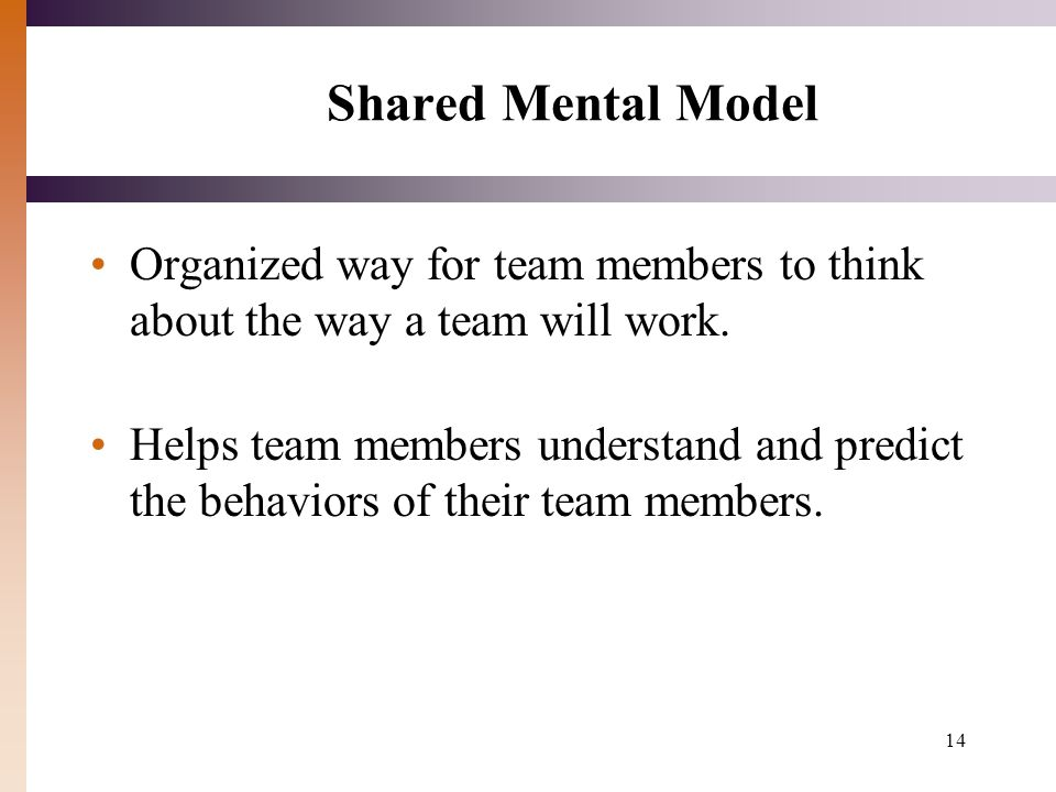Shared Mental Model Organized way for team members to think about the way a team will work.