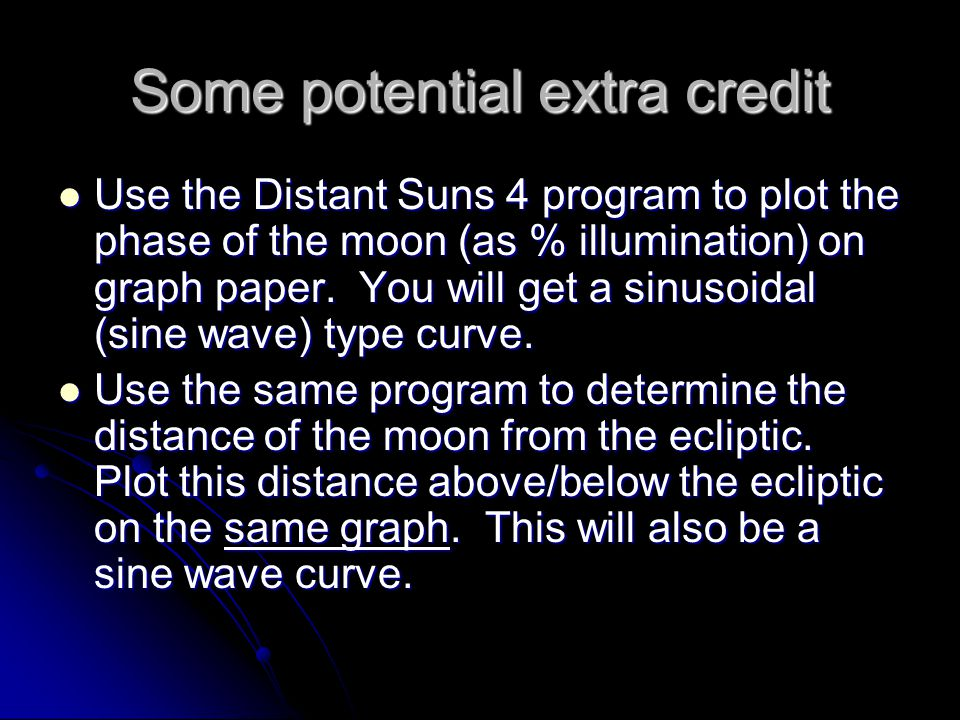 Some potential extra credit Where the 2 graphs intersect at the points of new moon (0% illumination), a solar eclipse could occur.