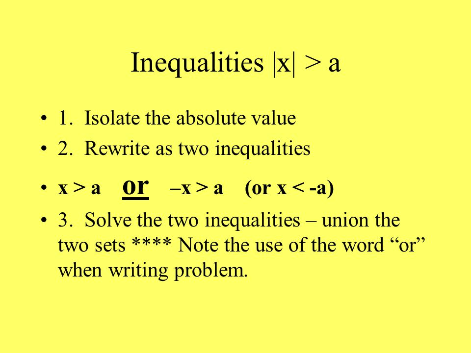 Inequalities |x| > a 1. Isolate the absolute value 2.