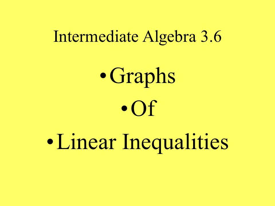 Intermediate Algebra 3.6 Graphs Of Linear Inequalities