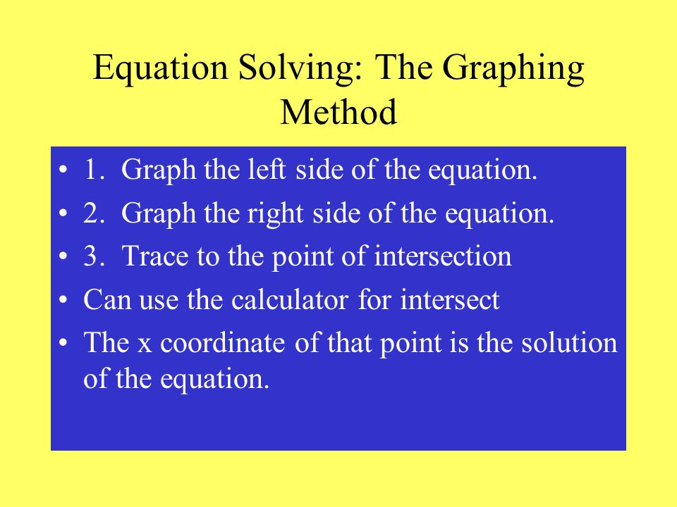 Equation Solving: The Graphing Method 1. Graph the left side of the equation.