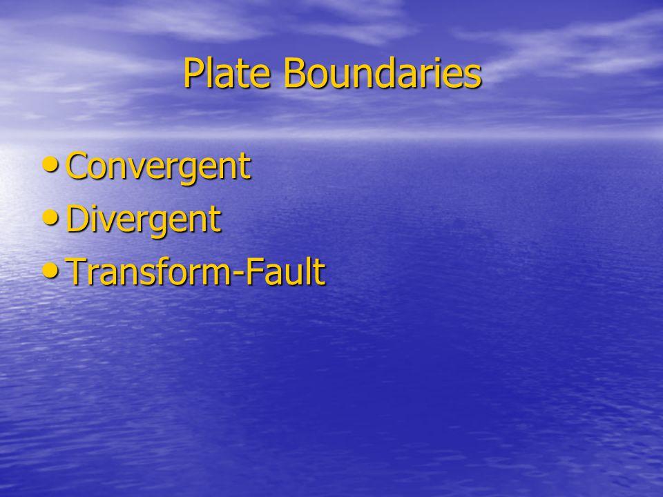 Convergent Boundaries Boundaries between two plates that are colliding Boundaries between two plates that are colliding   There are 3 types… There are 3 types…