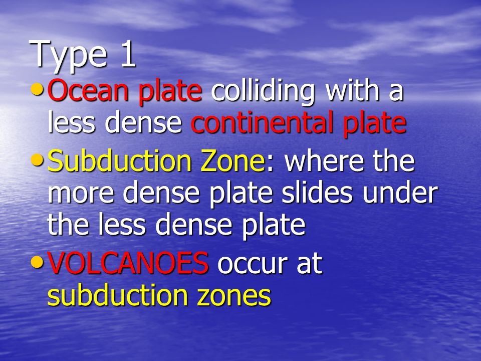 Oceanic-Continental Convergence When an oceanic plate pushes into and subducts under a continental plate, the overriding continental plate is lifted up and a mountain range is created.