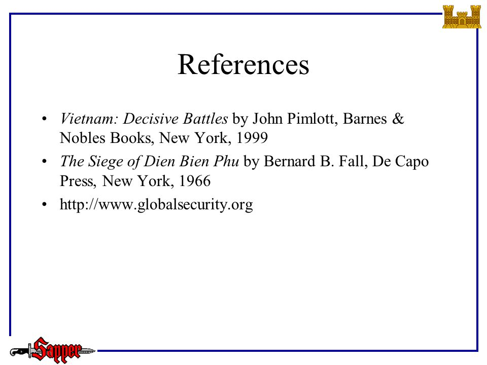 References Vietnam: Decisive Battles by John Pimlott, Barnes & Nobles Books, New York, 1999 The Siege of Dien Bien Phu by Bernard B.