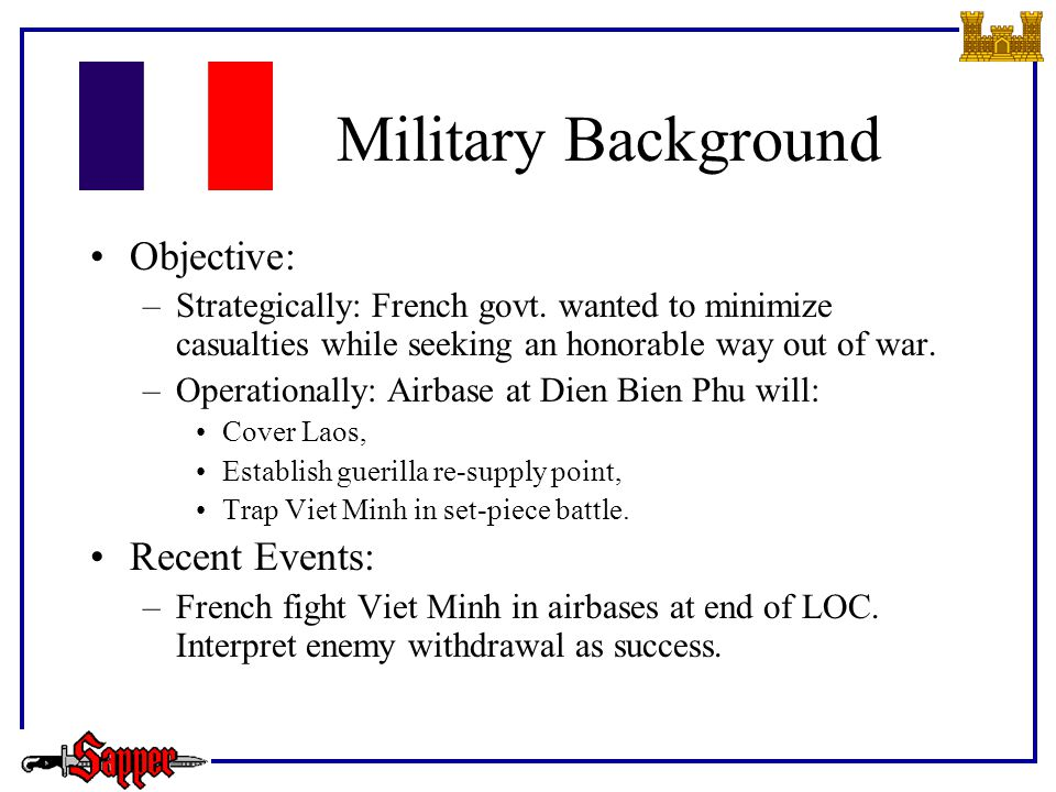 Military Background Objective: –Strategically: French govt.