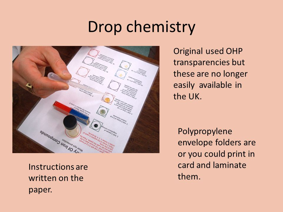 Drop chemistry Original used OHP transparencies but these are no longer easily available in the UK.