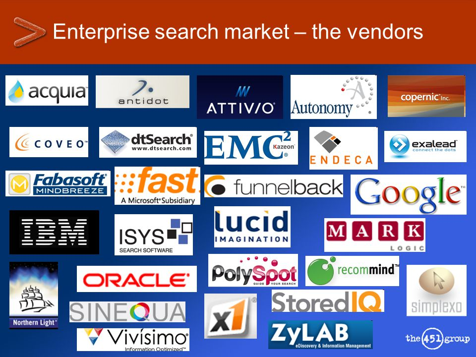 Enterprise search market – the vendors
